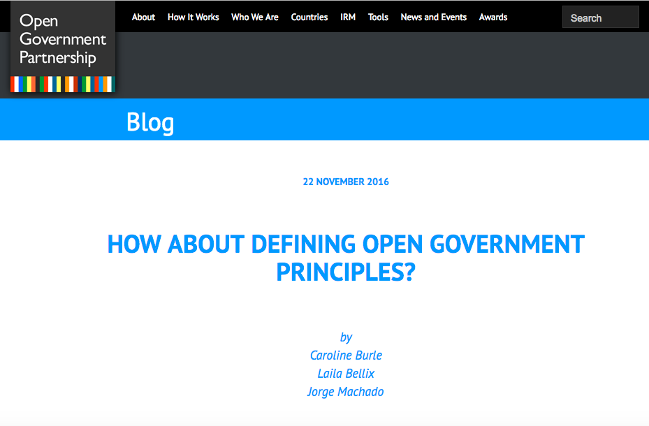 How about defining Open Government principles?